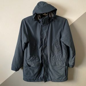 Lands End XL Hooded Parka Coat Teal Thick Warm